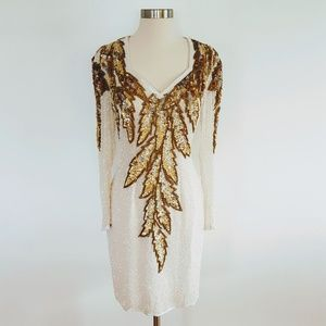 Vintage | White & Gold Sequin Midi Evening Dress
